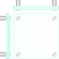 Design Glasschild gewölbt 4 Loch
